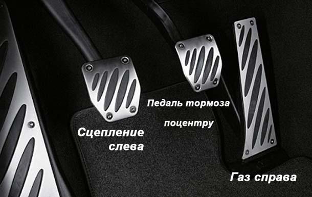 расположение педалей на механике